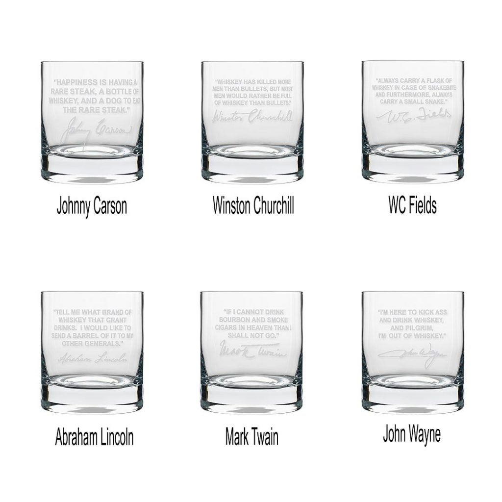 Best Selling Famous Quote Double Old-Fashioned Whiskey Glasses, Set of 6 (1  FREE)